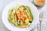 Спагети със сметана, тиквички и галета